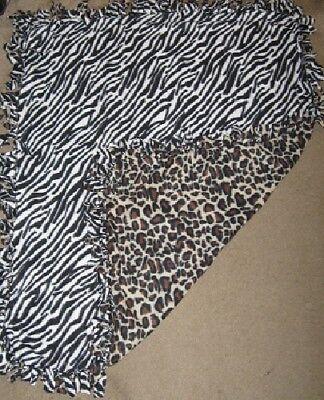 Cat/Dog Fleece Large Crate, Adult Cuddle Blanket - Homemade - Zebra/Leopard