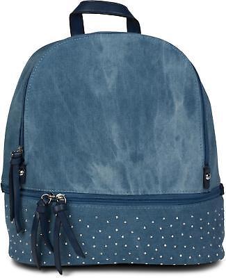 Jeans Rucksack Handtasche mit Strass und Reißverschluss, Glitzer Tasche, Damen ()