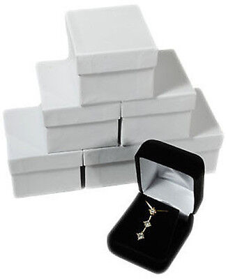 6 Piece Black Velvet Pendant Necklace Earring Jewelry Gift Boxes 1 78 X 2 18