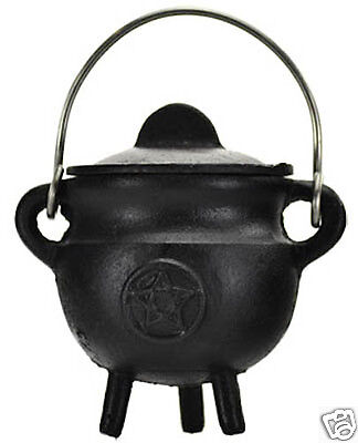 Small Lidded Pentagram Cast Iron Cauldron!   - Small Cast Iron Cauldron