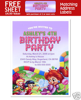 8 Candy Land Birthday Party Personalized Invitations