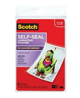 3m Scotch Self-sealing Laminating Pouches - 4 Width X 6 Length - Type Pl900g