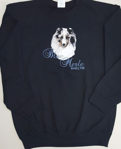 Sheltie/Shetland Sheepdog Blue Merle Embroidered On a 3XL Crewneck Sweatshirt