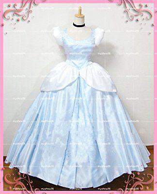 Cinderella Dress Adult Princess Women Cosplay Costume Halloween Light Color 2019 ()