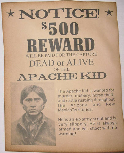 Apache Kid Wanted Poster, Western, Outlaw, Old West