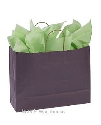 Paper Shopping Bags 100 Plum Purple Gift Merchandise 16 X 6 X 12 Large