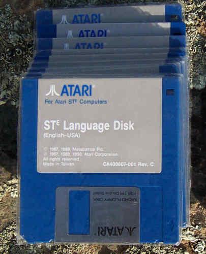 """Atari STE LANGUAGE Disk DSDD 4 each BLUE  Disk 3 1/2""""/3.5""""  NEW"""