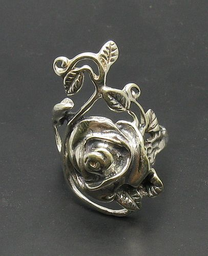 STERLING SILVER RING SOLID 925 FLOWER ROSE NEW SIZE G - V EMPRESS
