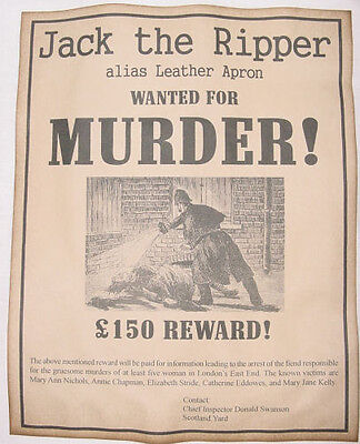 Jack the Ripper Wanted Poster. Great Halloween Decor - Halloween Wanted Poster