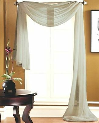 1 SCARF VALANCE VOILE SHEER FABRIC ELEGANT WINDOW CURTAIN DRAPE 35
