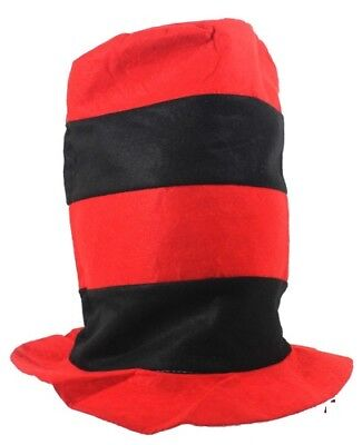 TOP HAT Red Black Striped Costumes Kid Party Halloween Birthday ADULTS Children (Striped Top Hat)