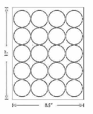 60 Labels 3 Sheets 2 Inch Circle Round Label White Matte Finish Laser Inkjet