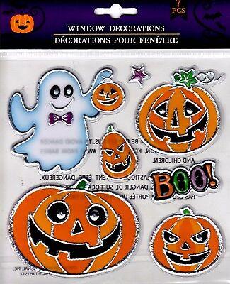 Halloween Window Cling Stickers 7 Count ~ Ghost & Pumpkins BOO! ~ FREE SHIPPING (Halloween Windows 7)