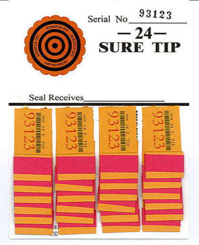 One Dozen # 24 Sure Tip Boards (1-24)  Bingo/Jar Tickets  Free Shipping USA