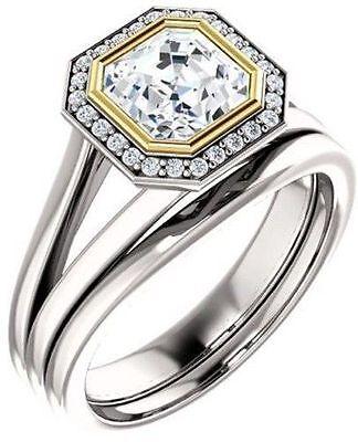 1.40 ct total Asscher & round Diamond Halo Engagement Wedding 14k Two-tone Gold