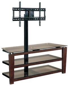 TV Stand - Whalen 3 in 1 - wood and glass - 3 shelves