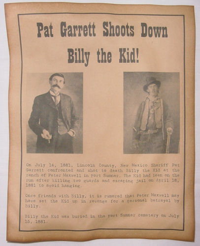 Pat Garrett Shoots Down Billy the Kid Notice Poster, old west, western, wanted