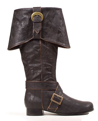 Mens Knee High Pirate Boots Black Halloween Accessory - Halloween Booty