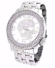 Marc Ecko Unisex Silver Iced Watch With Silver skull swarovski Sans Souci Rockdale Area Preview