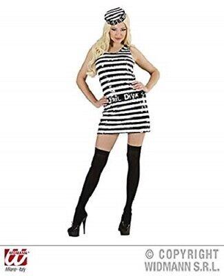Adult Female Jail Diva Costume Fancy Dress Outfit size 14-16 Convict Jail Bird