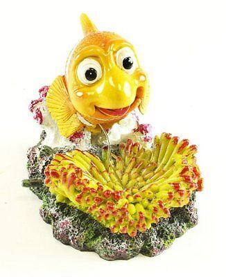 Yellow Clown Fish Aquarium Fish Tank Ornament Decor with Bubbler