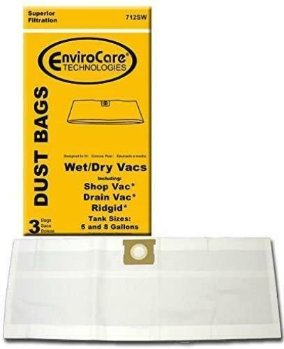 EnviroCare Vacuum Dust Bags for Shop Vac 5 & 8 Gallon Tanks - 3 Pack