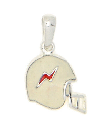 SILVER THUNDER FOOTBALL HELMET WITH WHITE AND RED ENAMEL CHARM OR PENDANT