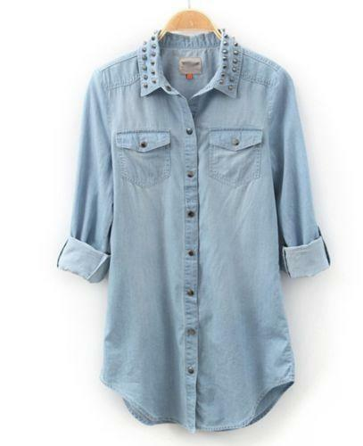 Womens denim shirt ebay for Blue denim shirt for womens