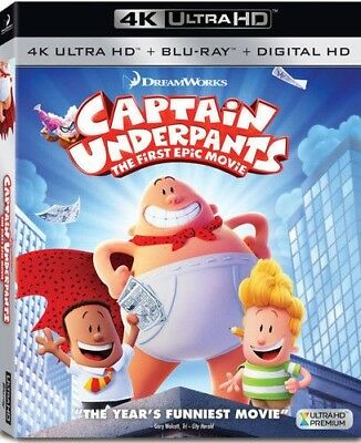 Captain Underpants The First Epic Movie  4K Ultra Hd  Blu Ray  Digital  New
