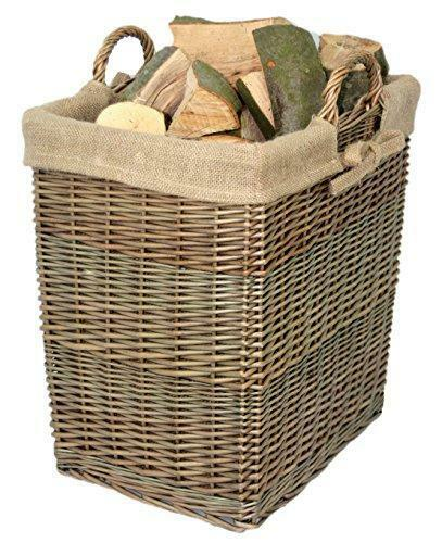 Modern  Full Cane Wicker Antique Wash Willow Lined Log or Storage Basket