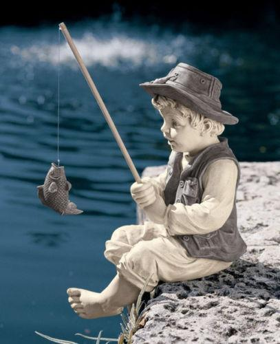 Boy fishing statue ebay for Fish garden statue