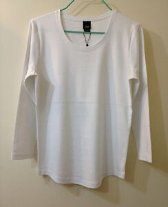 Esprit Collection Long-Sleeve Cotton Scoop Neck Top - White, Size XL