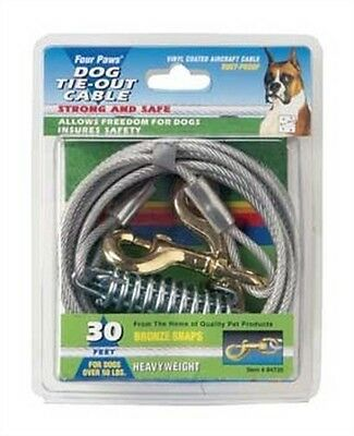 Big Dogs Tie Out Cable Secure Yard Rust Resistant Sturdy Durable Design 30 Feet