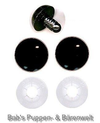 1 Paar Sicherheitsaugen schwarz 21 mm mit Kunststoff-Sicherheitsscheibe