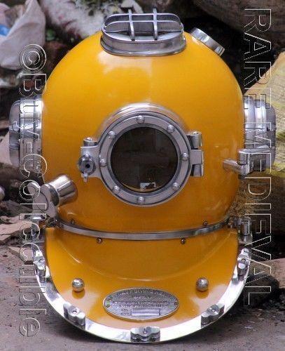 "18"" Antique Brass Scuba Deep Sea Diving Divers Helmet Mark V U.S Navy Vintage q6"