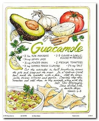 Homemade Guacamole Recipe Mexican Food Kitchen Wall Decor Art Print Poster 8X10
