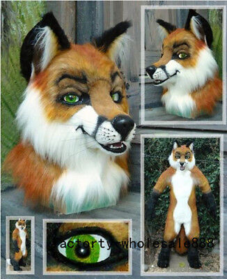 Cute Unisex Cosplay Long Fur Brown Husky Dog Mascot Costumes Fox Halloween - Cute Dog Kostüm