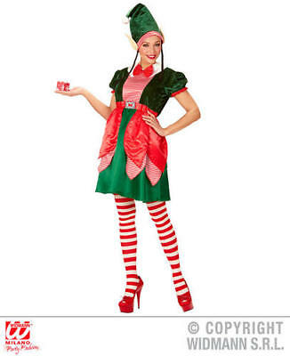 Womens Ladies Elf Girl Christmas Fancy Dress Costume Santas Helper Outfit M