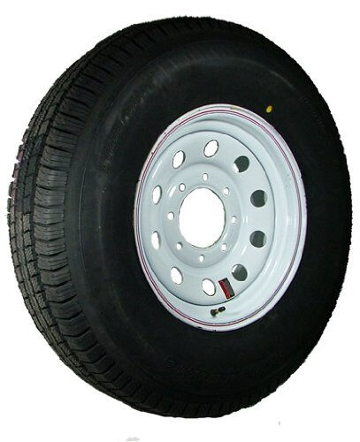 "16"" 8-6.5"" Bolt Circle White Modular Wheel and ST23580R16E Radial Trailer Tire"
