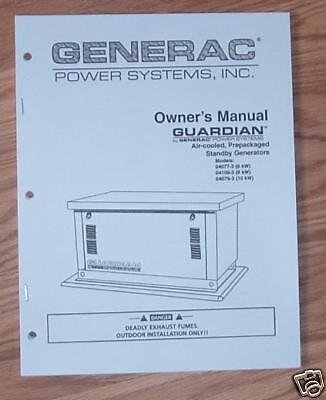 GENERAC GUARDIAN STANDBY GENERATOR OWNERS MANUAL NO. (Guardian Generator Manual)