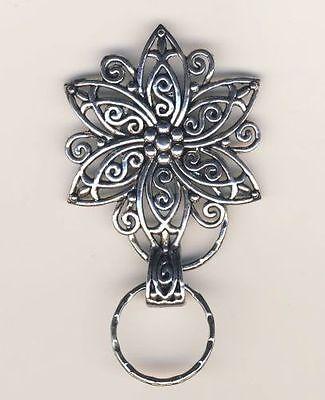 Big Silvertone Flower Magnetic ID Badge Eyeglass Holder, Magnetic Pin Brooch