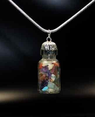 Chakra Anhänger Flasche mit Trommelsteine Edelsteine Energie