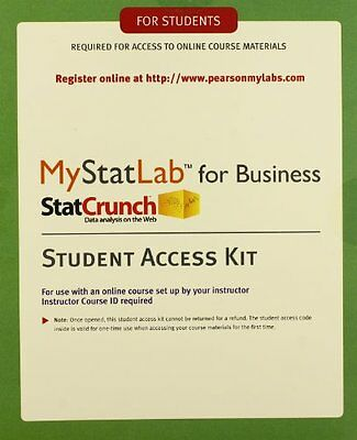 Mystatlab For Business Statistics Statcrunch Student Access Kit  See Description