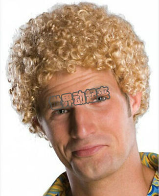70s disco rock wig New vogue Men's Short Blonde Cosplay Curly Hair Full wig