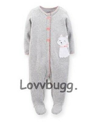 """Gray Kitty Cat Sleeper for 15"""" Bitty Baby Doll Clothes / Preemie"""