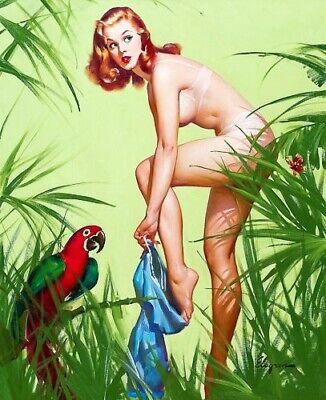 ELVGREN 8x10 PIN-UP GIRL ART PRINT-Girlfriend Nude Redhead Bare Legs #403 E1