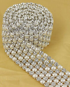 1-Yard-5mm-Diamond-A-Rhinestone-and-Pearl-Wedding-Cake-Banding-Trim-Ribbon-Deco
