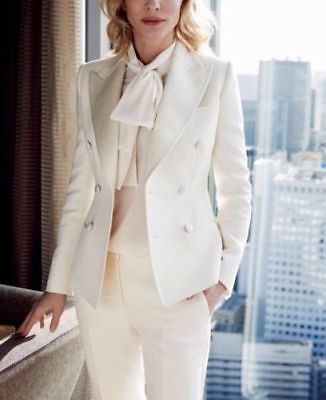 White Women Ladies Casual Business Office Tuxedos Work Wear Suits Custom Made