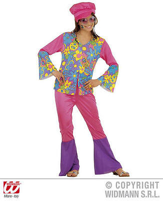 Childrens Hippy Girl Fancy Dress Costume 70S Hippie Flower Power Outfit - Flower Power Girl Costume