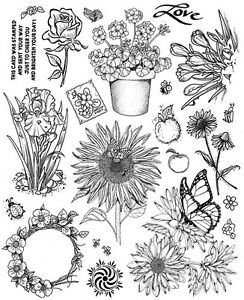 Unmounted-Rubber-Stamps-Sheets-Flowers-Floral-Sunflowers-Iris-Mums-Roses